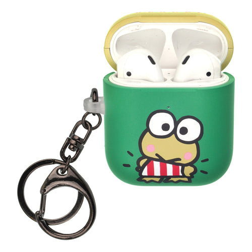Sanrio AirPods Case Key Ring Keychain Key Holder Hard PC Shell Strap Hole Cover [Front LED Visible] - Kerokerokeroppi