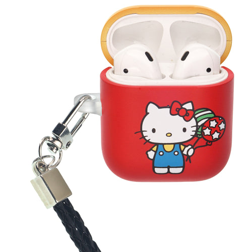Sanrio AirPods Case Neck Lanyard Protective Hard PC Shell Strap Hole Cover - Hello Kitty Balloon