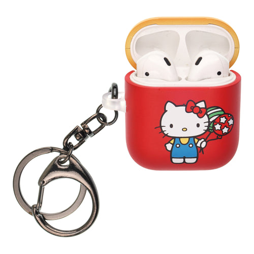 Sanrio AirPods Case Key Ring Keychain Key Holder Hard PC Shell Strap Hole Cover [Front LED Visible] - Hello Kitty Balloon