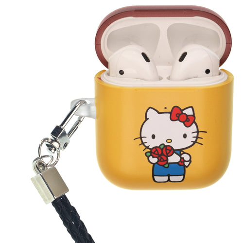 Sanrio AirPods Case Neck Lanyard Protective Hard PC Shell Strap Hole Cover - Hello Kitty Bouquet