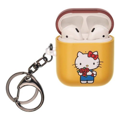 Sanrio AirPods Case Key Ring Keychain Key Holder Hard PC Shell Strap Hole Cover [Front LED Visible] - Hello Kitty Bouquet