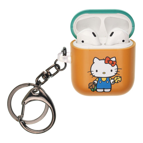 Sanrio AirPods Case Key Ring Keychain Key Holder Hard PC Shell Strap Hole Cover [Front LED Visible] - Hello Kitty Leaves