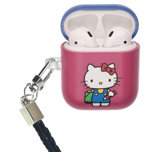 Sanrio AirPods Case Neck Lanyard Protective Hard PC Shell Strap Hole Cover - Hello Kitty Pencil
