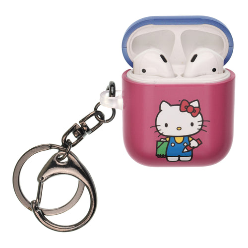 Sanrio AirPods Case Key Ring Keychain Key Holder Hard PC Shell Strap Hole Cover [Front LED Visible] - Hello Kitty Pencil