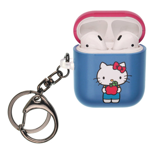 Sanrio AirPods Case Key Ring Keychain Key Holder Hard PC Shell Strap Hole Cover [Front LED Visible] - Hello Kitty Stand Apple