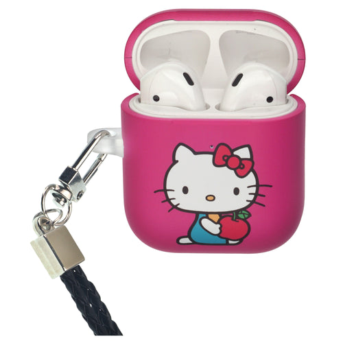 Sanrio AirPods Case Neck Lanyard Protective Hard PC Shell Strap Hole Cover - Hello Kitty Apple