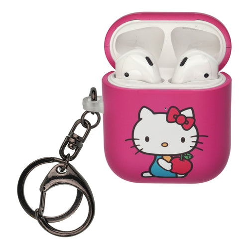Sanrio AirPods Case Key Ring Keychain Key Holder Hard PC Shell Strap Hole Cover [Front LED Visible] - Hello Kitty Apple