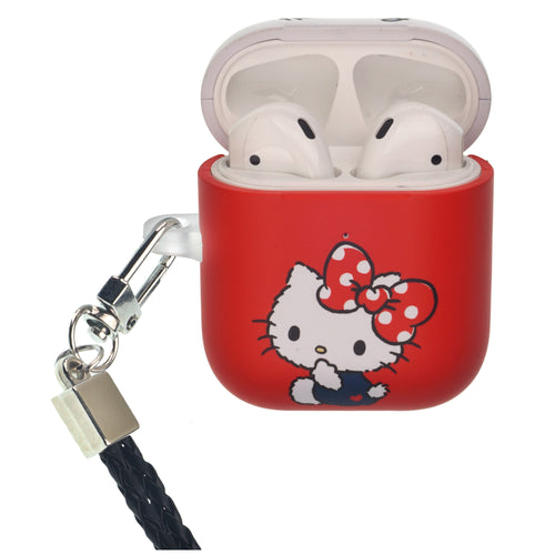 Sanrio AirPods Case Neck Lanyard Protective Hard PC Shell Strap Hole Cover - Hello Kitty Big Ribbon