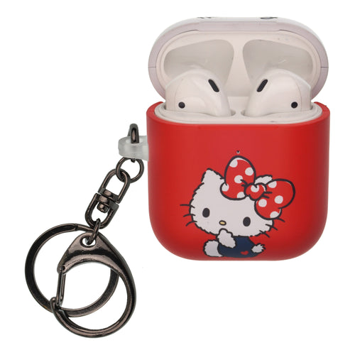 Sanrio AirPods Case Key Ring Keychain Key Holder Hard PC Shell Strap Hole Cover [Front LED Visible] - Hello Kitty Big Ribbon