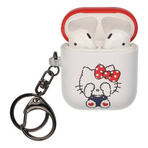 Sanrio AirPods Case Key Ring Keychain Key Holder Hard PC Shell Strap Hole Cover [Front LED Visible] - Hello Kitty Blindfold