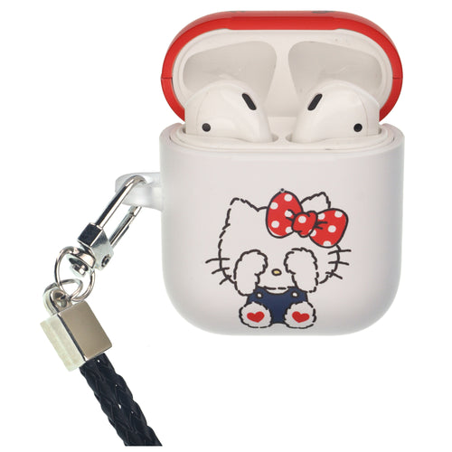 Sanrio AirPods Case Neck Lanyard Protective Hard PC Shell Strap Hole Cover - Hello Kitty Blindfold