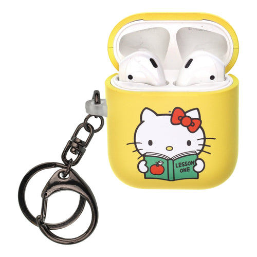 Sanrio AirPods Case Key Ring Keychain Key Holder Hard PC Shell Strap Hole Cover [Front LED Visible] - Hello Kitty Book