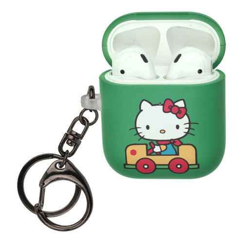 Sanrio AirPods Case Key Ring Keychain Key Holder Hard PC Shell Strap Hole Cover [Front LED Visible] - Hello Kitty Car