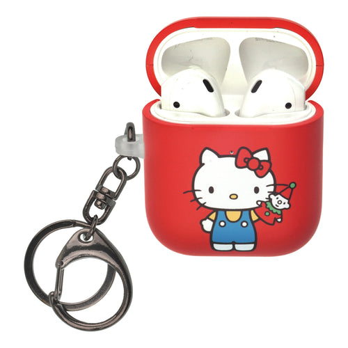 Sanrio AirPods Case Key Ring Keychain Key Holder Hard PC Shell Strap Hole Cover [Front LED Visible] - Hello Kitty Doll