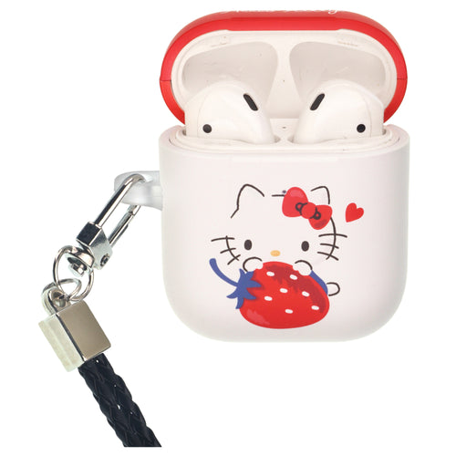 Sanrio AirPods Case Neck Lanyard Protective Hard PC Shell Strap Hole Cover - Hello Kitty Sit