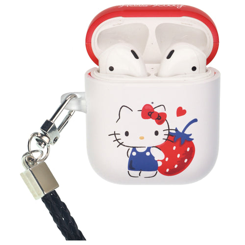 Sanrio AirPods Case Neck Lanyard Protective Hard PC Shell Strap Hole Cover - Hello Kitty Stand