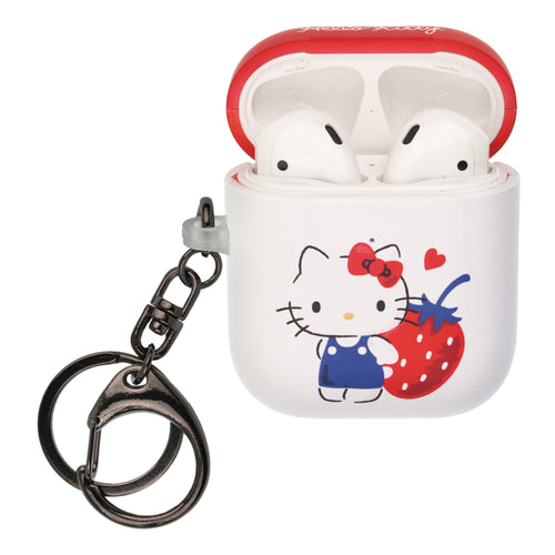 Sanrio AirPods Case Key Ring Keychain Key Holder Hard PC Shell Strap Hole Cover [Front LED Visible] - Hello Kitty Stand