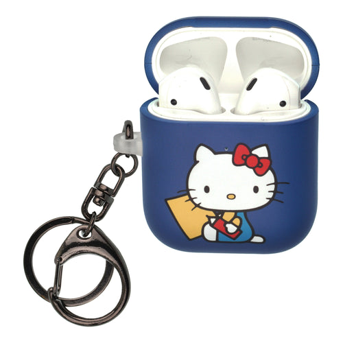 Sanrio AirPods Case Key Ring Keychain Key Holder Hard PC Shell Strap Hole Cover [Front LED Visible] - Hello Kitty Writing