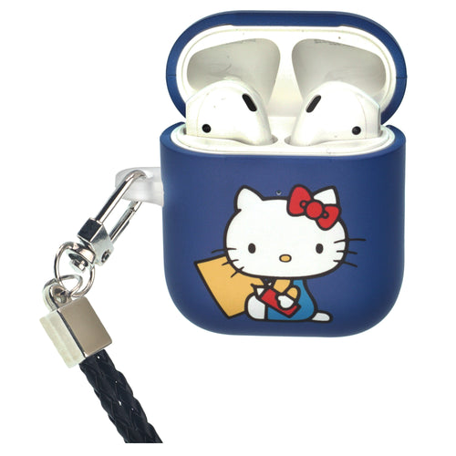Sanrio AirPods Case Neck Lanyard Protective Hard PC Shell Strap Hole Cover - Hello Kitty Writing