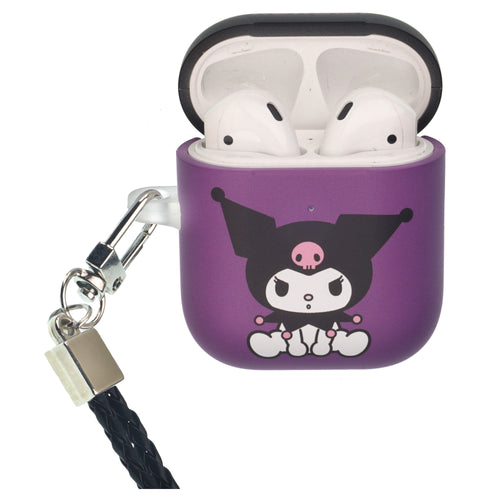Sanrio AirPods Case Neck Lanyard Protective Hard PC Shell Strap Hole Cover - Kuromi