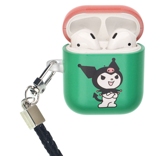 Sanrio AirPods Case Neck Lanyard Protective Hard PC Shell Strap Hole Cover - Kuromi Fold Arms