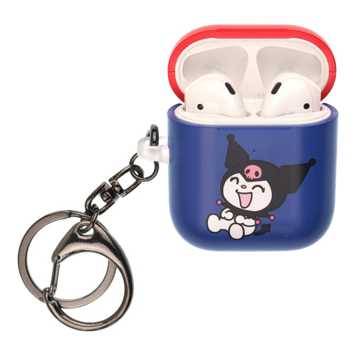 Sanrio AirPods Case Key Ring Keychain Key Holder Hard PC Shell Strap Hole Cover [Front LED Visible] - Kuromi Laughter