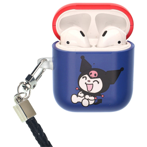 Sanrio AirPods Case Neck Lanyard Protective Hard PC Shell Strap Hole Cover - Kuromi Laughter