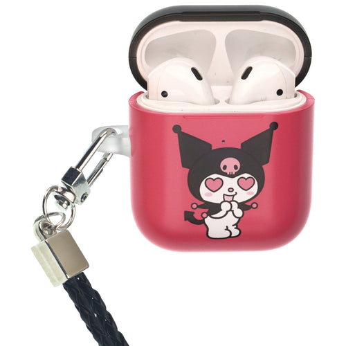 Sanrio AirPods Case Neck Lanyard Protective Hard PC Shell Strap Hole Cover - Kuromi Love