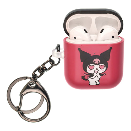 Sanrio AirPods Case Key Ring Keychain Key Holder Hard PC Shell Strap Hole Cover [Front LED Visible] - Kuromi Love