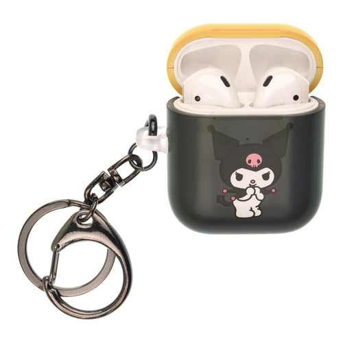Sanrio AirPods Case Key Ring Keychain Key Holder Hard PC Shell Strap Hole Cover [Front LED Visible] - Kuromi Smile
