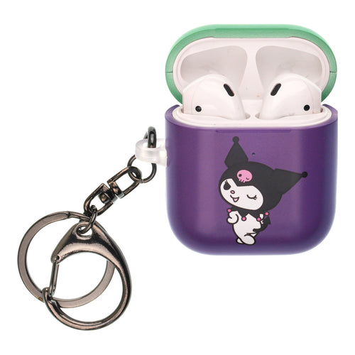 Sanrio AirPods Case Key Ring Keychain Key Holder Hard PC Shell Strap Hole Cover [Front LED Visible] - Kuromi Wink