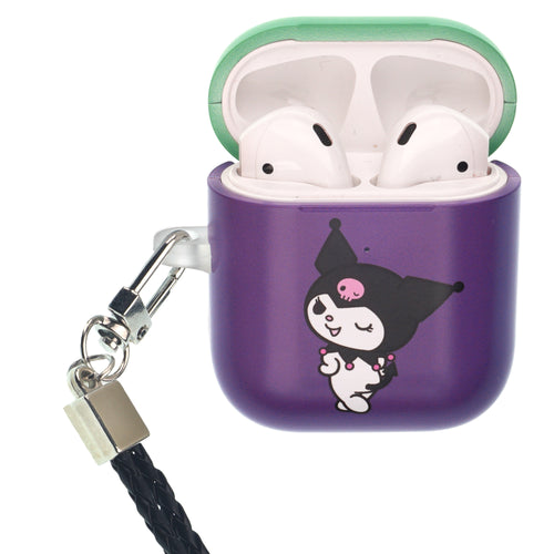Sanrio AirPods Case Neck Lanyard Protective Hard PC Shell Strap Hole Cover - Kuromi Wink