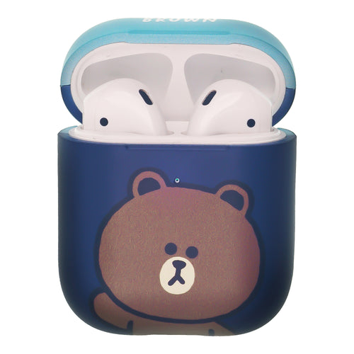 Line Friends AirPods Case Protective Hard PC Shell Cute Cover - Greeting Brown Blue