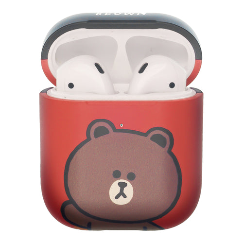 Line Friends AirPods Case Protective Hard PC Shell Cute Cover - Greeting Brown Red