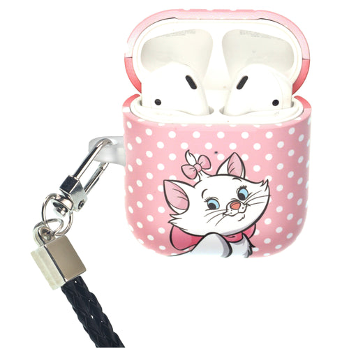 Disney The AristoCats AirPods Case Neck Lanyard Protective Hard PC Shell Strap Hole Cover - Marie Spot Baby Pink