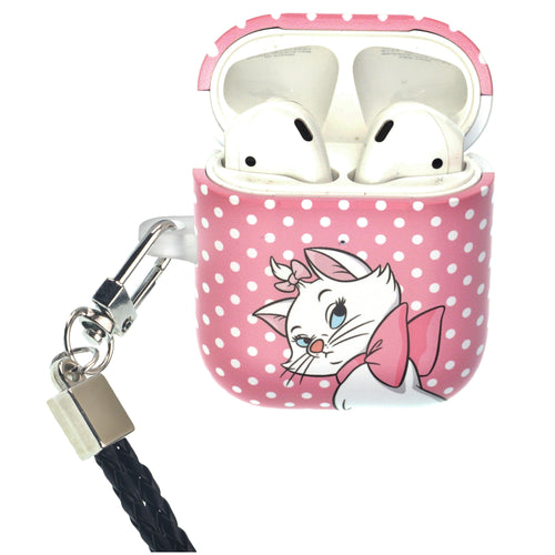 Disney The AristoCats AirPods Case Neck Lanyard Protective Hard PC Shell Strap Hole Cover - Marie Spot Hot Pink