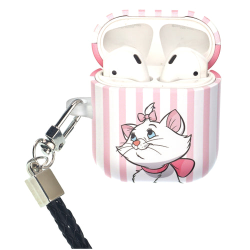 Disney The AristoCats AirPods Case Neck Lanyard Protective Hard PC Shell Strap Hole Cover - Marie Stripe Pink