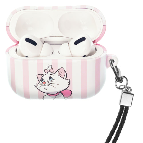 Disney The AristoCats AirPods Pro Case Neck Lanyard Hard PC Shell Strap Hole Cover - Marie Stripe Pink