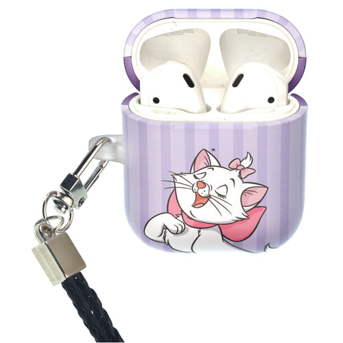 Disney The AristoCats AirPods Case Neck Lanyard Protective Hard PC Shell Strap Hole Cover - Marie Stripe Purple