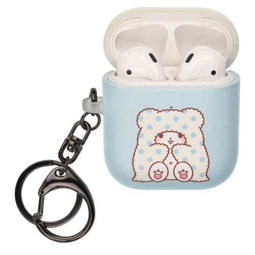 Sanrio AirPods Case Key Ring Keychain Key Holder Hard PC Shell Strap Hole Cover [Front LED Visible] - Marumofubiyori