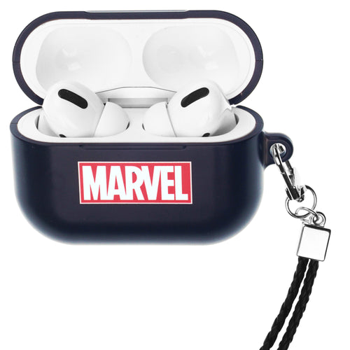 Marvel Avengers AirPods Pro Case Neck Lanyard Hard PC Shell Strap Hole Cover - Logo Marvel Black