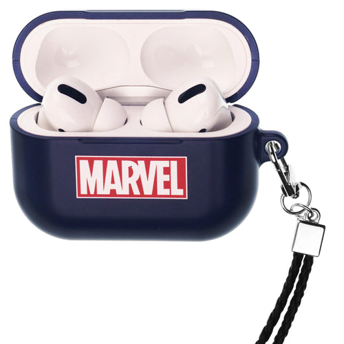 Marvel Avengers AirPods Pro Case Neck Lanyard Hard PC Shell Strap Hole Cover - Logo Marvel Navy
