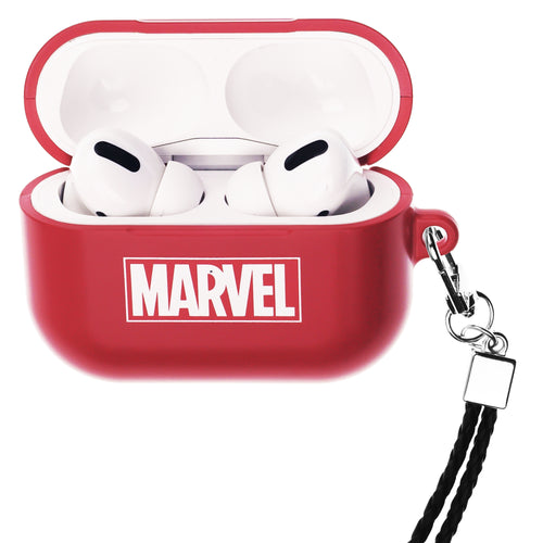 Marvel Avengers AirPods Pro Case Neck Lanyard Hard PC Shell Strap Hole Cover - Logo Marvel Red