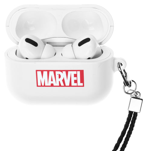 Marvel Avengers AirPods Pro Case Neck Lanyard Hard PC Shell Strap Hole Cover - Logo Marvel White