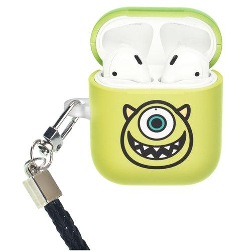 Disney AirPods Case Neck Lanyard Protective Hard PC Shell Strap Hole Cover - Monsters Smile Mike
