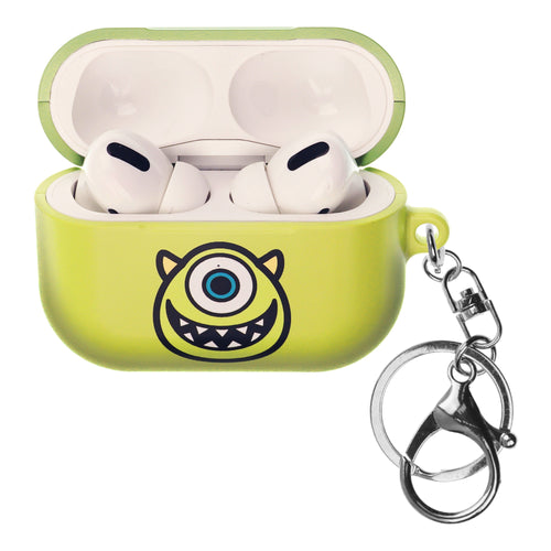 Disney AirPods Pro Case Key Ring Keychain Key Holder Hard PC Shell Strap Hole Cover - Monsters Smile Mike