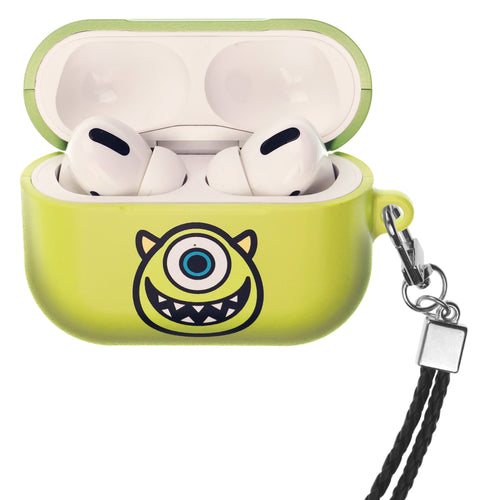 Disney AirPods Pro Case Neck Lanyard Hard PC Shell Strap Hole Cover - Monsters Smile Mike