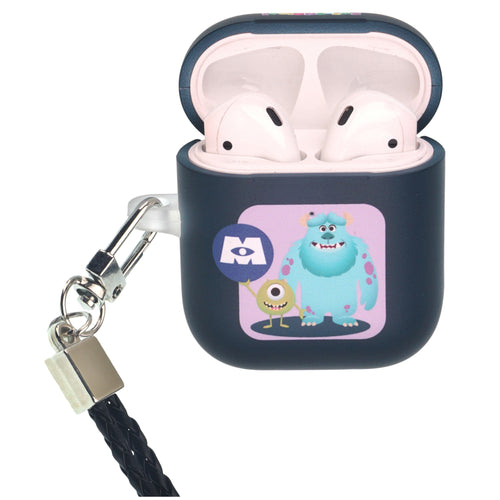 Disney AirPods Case Neck Lanyard Protective Hard PC Shell Strap Hole Cover - Monsters Mike and Sulley