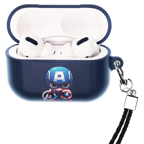 Marvel Avengers AirPods Pro Case Neck Lanyard Hard PC Shell Strap Hole Cover - Mini Captain America