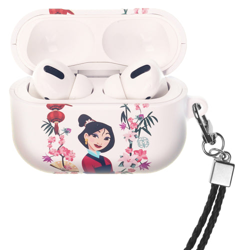 Disney AirPods Pro Case Neck Lanyard Hard PC Shell Strap Hole Cover - Mulan Flowers